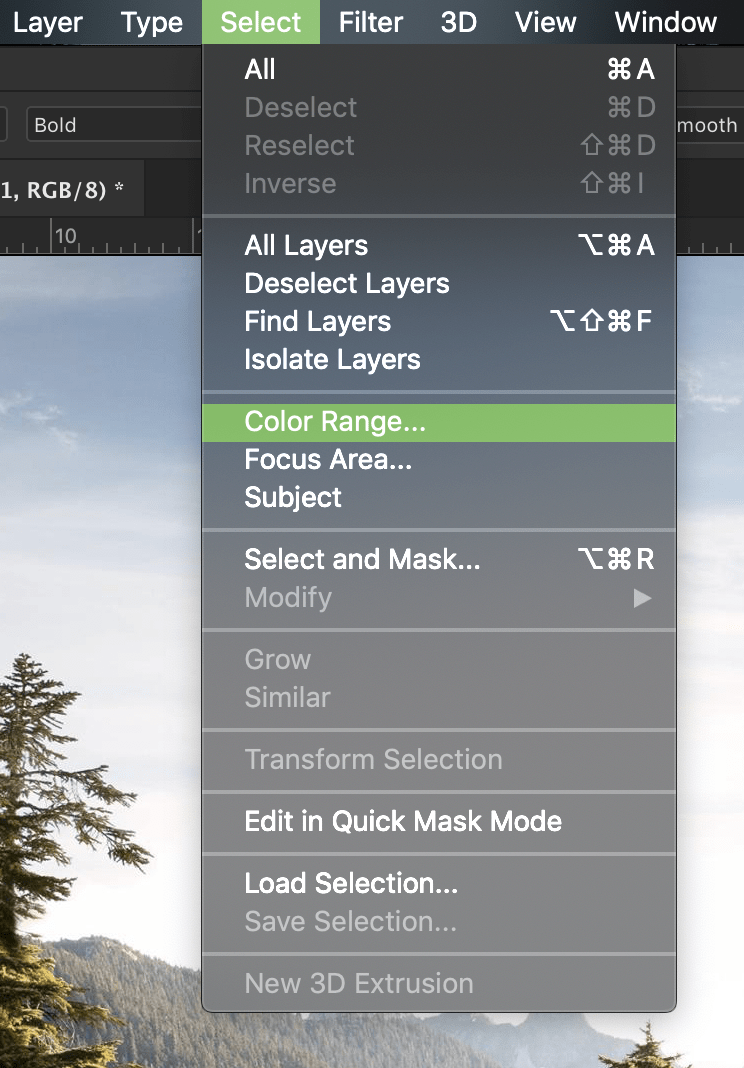 select colour range in photoshop