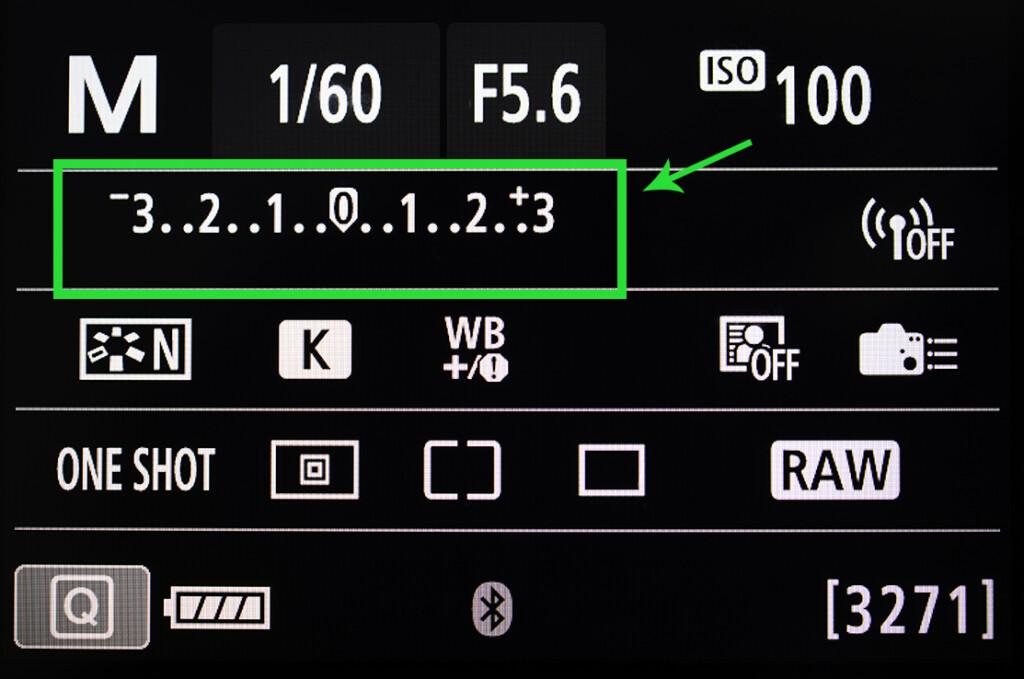 Exposure-meter-on-camera-settings-display