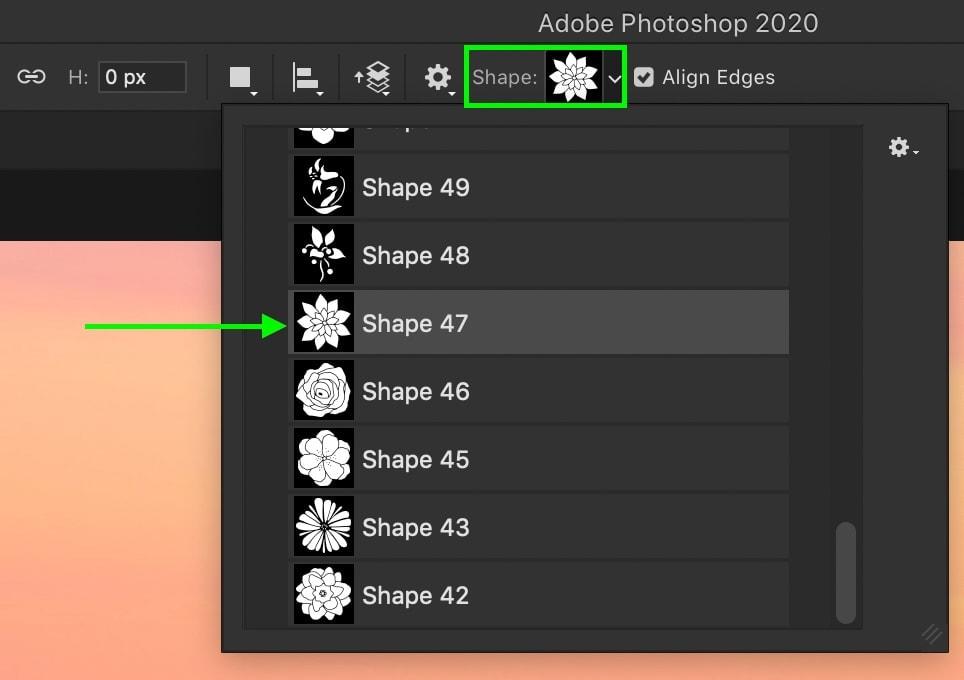 selecting-custom-shape-in-photoshop